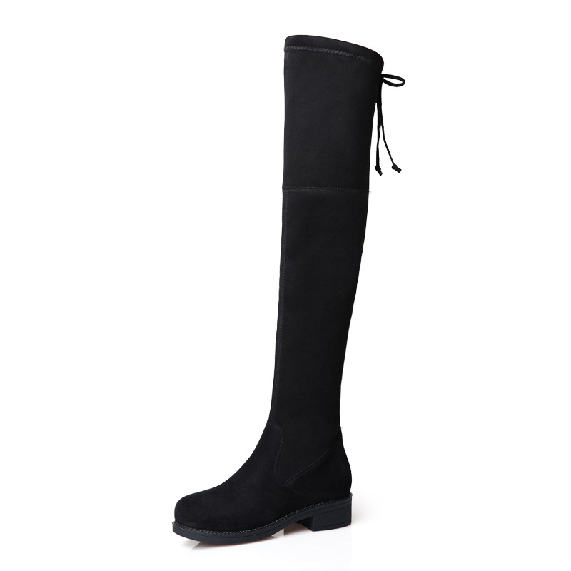 BORRUICE 2019 Over The Knee Boots Autumn Winter  Elastic Thigh High Long Shoes Woman Square Flat Heel Female