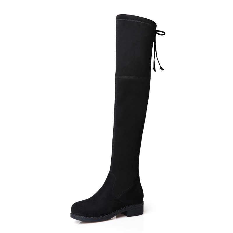 BORRUICE 2019 üzerinde diz çizmeler sonbahar kış elastik uyluk yüksek çizmeler uzun ayakkabı kadın çizmeler kare düz topuk ayakkabı kadın