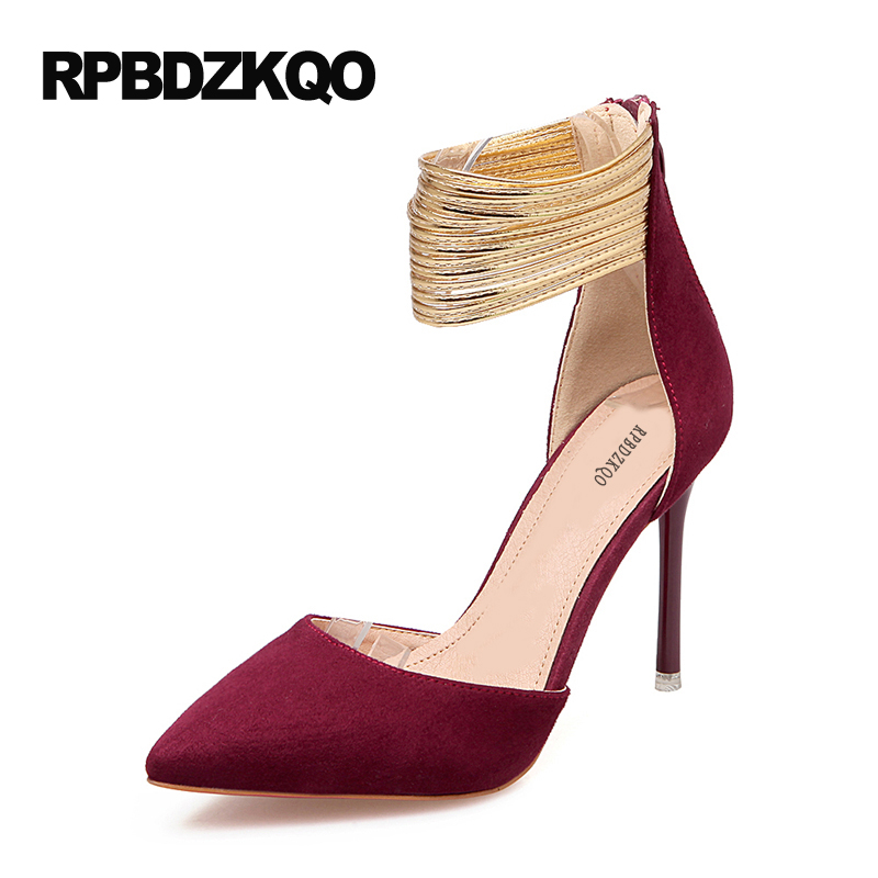 2017 High Heels Ankle Strap Pointed Toe Thin Zipper Plus Size Ultra Wine Red Unique Pumps Green Shoes For Women 9 40 Sexy 2017 high heels ankle strap pointed toe thin zipper plus size ultra wine red unique pumps green shoes for women 9 40 sexy