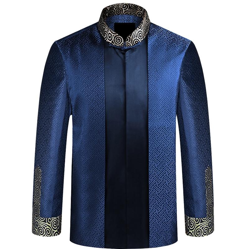2018 New Spring Autumn Men Elderly Tang Suit Coat Wedding Banquet Birthday Chinese Traditional Style Uniform Wushu Clothing цена 2017
