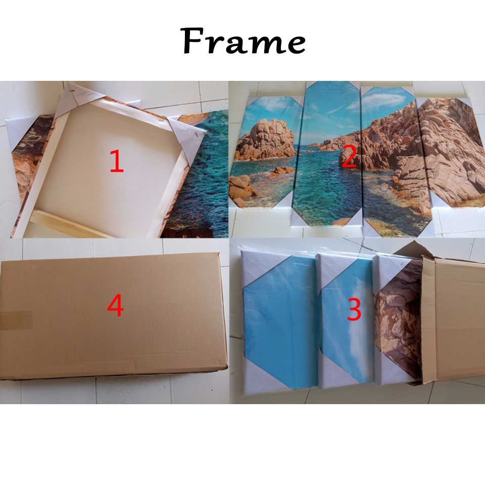 Painting Frame Art House Printed Poster Canvas Wall Modular Picture 4 Pieces/Set Waterfall Landscape Wedding Home Decoration
