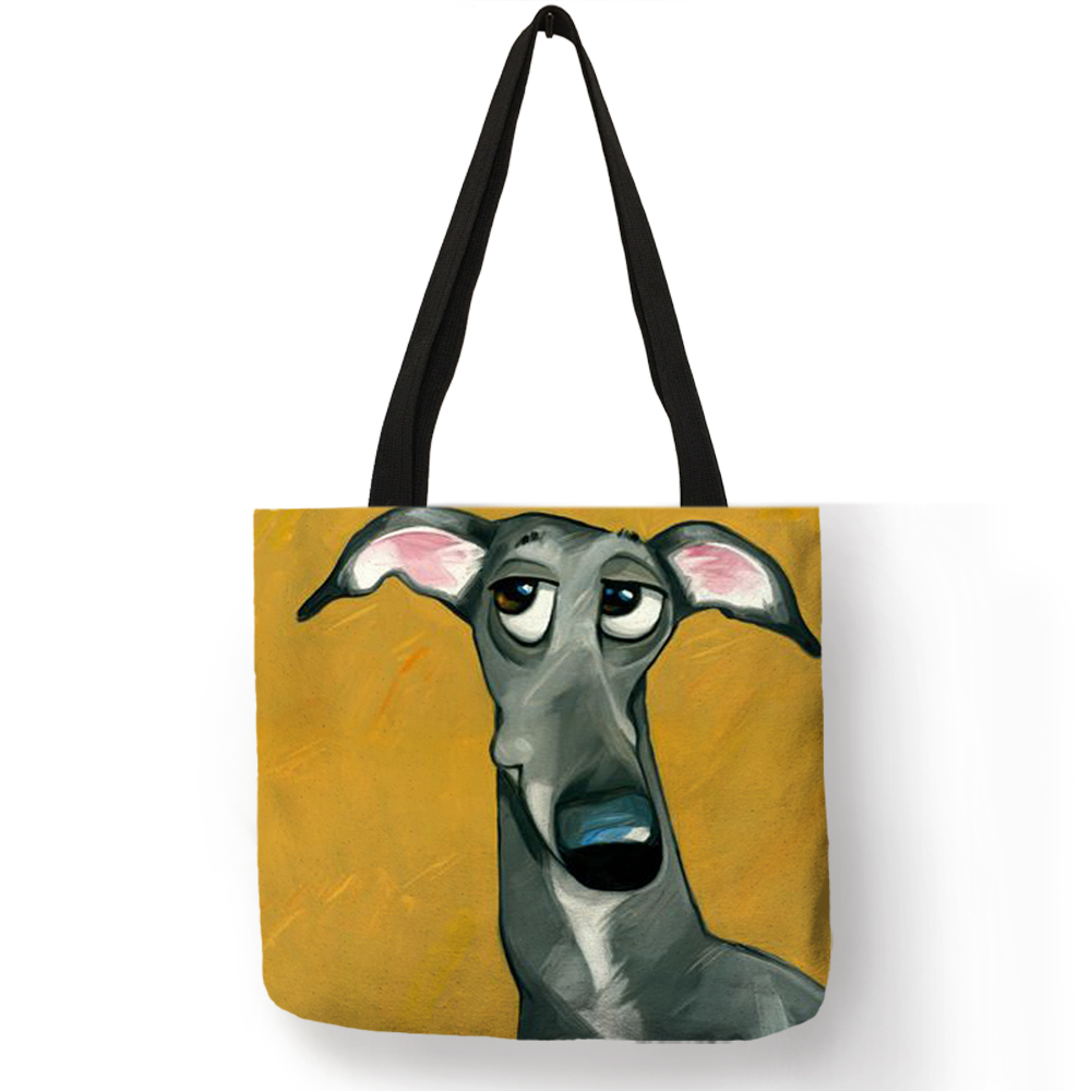 Customize Greyhound Black Dog Print Women Lady Fashion Tote Bag Fabric Handbags Folding Reusable Shopping Bags Pouch