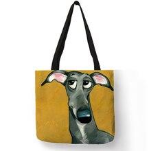 Personalizar galgo perro negro mujeres de moda de señora bolso de tela bolsos plegable bolsas de compras reutilizables bolsa