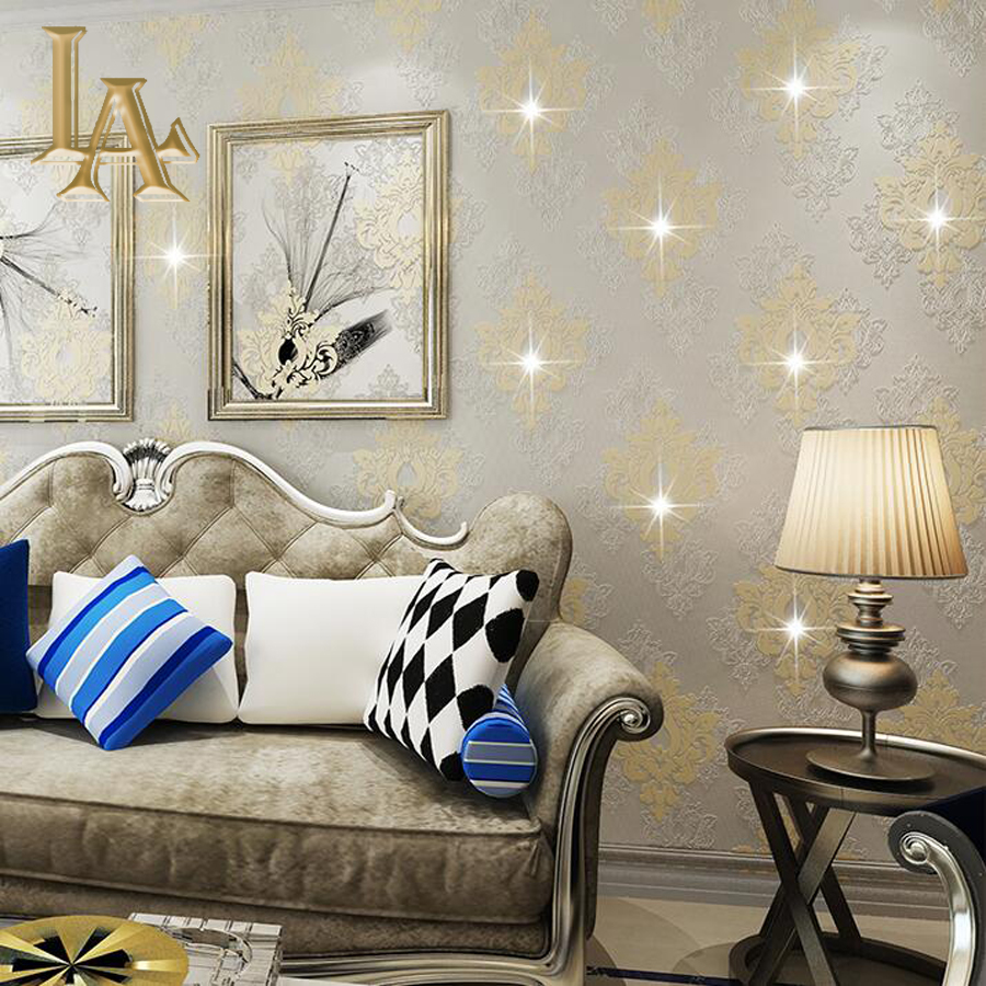 European Luxury DIY Diamonds Wallpaper For Walls With Rhinestone Ornament 3D Flocking Non-woven Wall Paper Papel de parede trendy non stick diy ornament