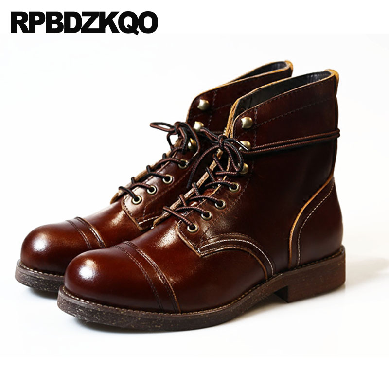 RedBrowm-women Rivet Retro Shoes Side Zipper High Heel Boots Casual Leather Martin Boots
