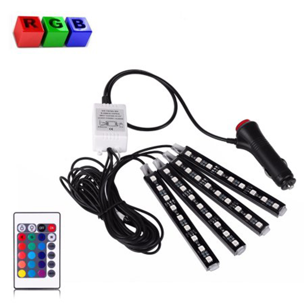 4*9 LED Car Light Interior Atmosphere SUV Floor Strip Lamp Remote Control Car Interior Neon Lights