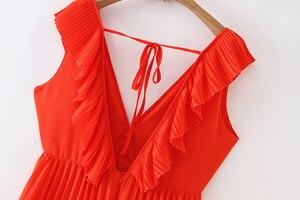 Image 4 - Vadim women orange maxi dress pleated ruffles sleeveless backless female casual sweet dresses chic bow tie A line vestidos QB506