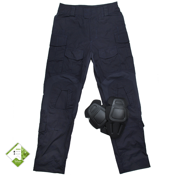 G3 Navy Combat Pants With Knee Pads NYCO Teflon Tactical Pants Men+Free shipping(STG051027) g3 combat pants wolf grey 3d urban tactical combat pants teflon coating free shipping stg050796