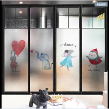 Window Glass stickers Nordic clean animal matte bathroom Kindergarten nursery door cartoon