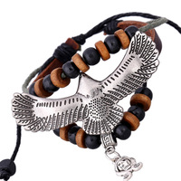 New Genuine Leather Eagle Bracelet For Women Accessories Hot Handmade Men Bracelet Skull Wholesale Casual Punk