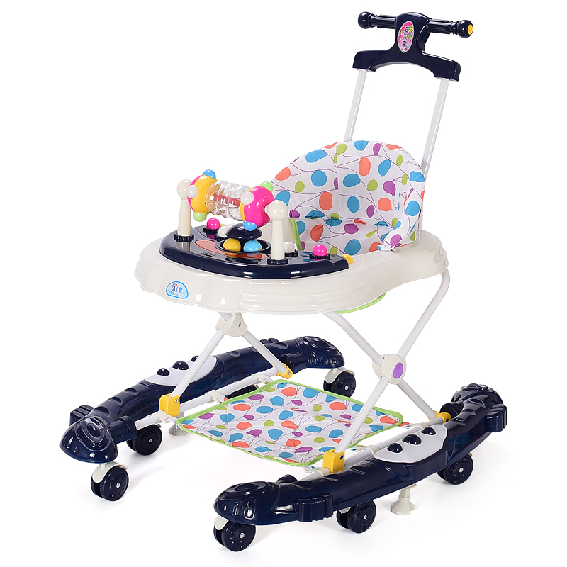 Baby Walker with 8 Wheels Rollover Multifunctional Learning Walker Car with Music 5 Levels Infant Walking Assistant Hand Push foldable baby learning multifunctional baby walker with 6 wheels anti rollover walker car walking assistant music light 7 18 m