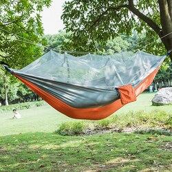 Модные гамак из парашютной ткани двойной человек портативный гамак с сеткой от насекомых уличная мебель Кемпинг путешествия садовые качел...