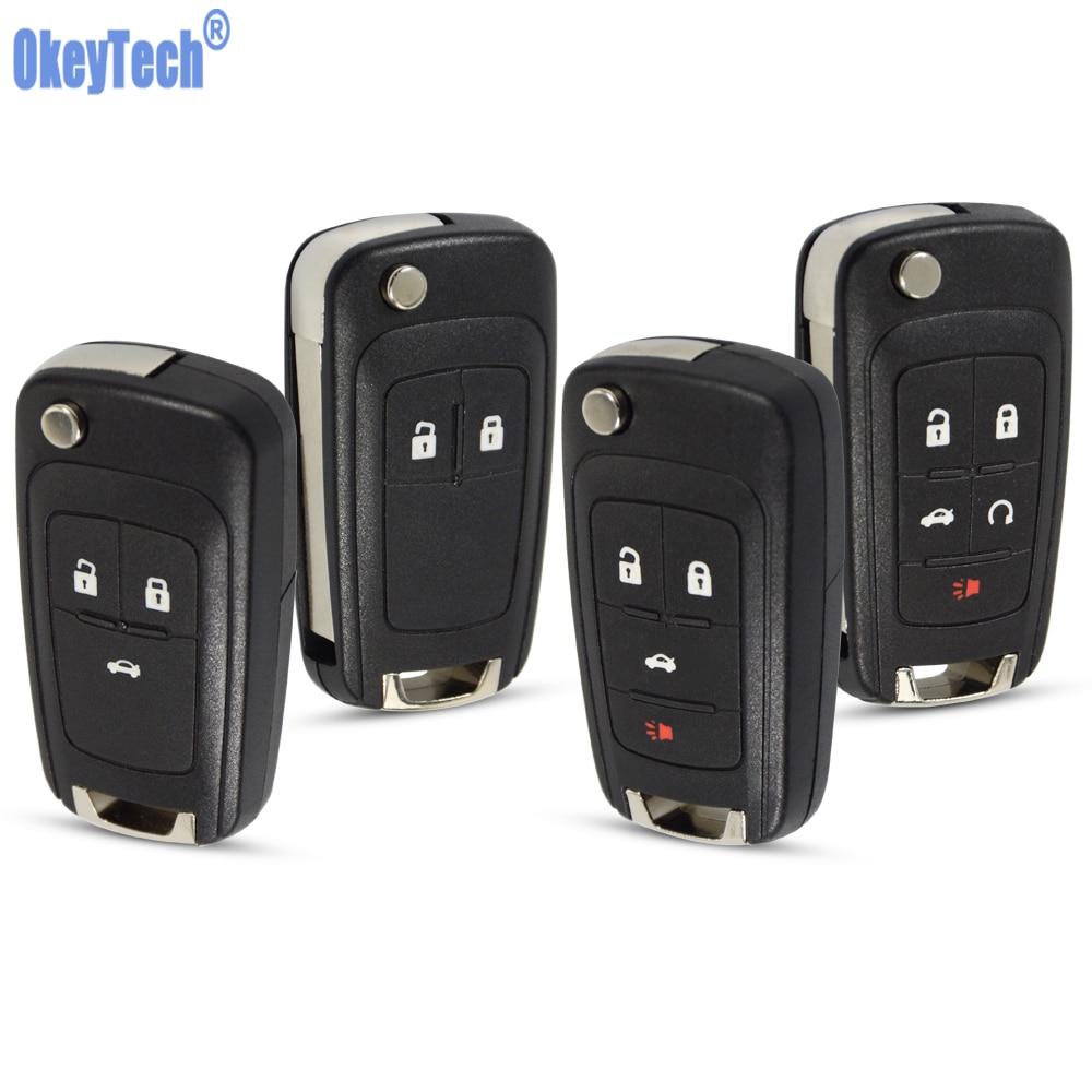 OkeyTech Flip Folding Remote Key Case Shell For VAUXHALL OPEL Insignia Astra Mokka Car Control Fob Cover Housing HU100 Blade
