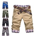 Shorts Man 2016 Brand Fashion Mens Bermuda Homme Casual Short No Belt Plaid Patchwork Knee Length Male Short Masculina Trousers