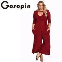 Gosopin Plus Size Rompers Women Jumpsuit Elegant Long Pants Sexy White Jumpsuits Ladies Office Clothes Club