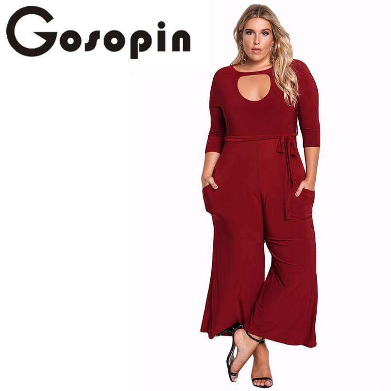 Gosopin Plus Size Rompers Women Jumpsuit Elegant Long Pants Sexy