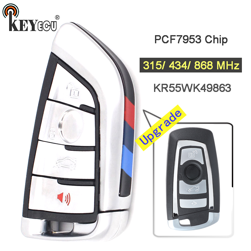 KEYECU  315/434/868MHz PCF7953 Chip CAS4 CAS4+ System Modify 4 Button Remote Key Fob For BMW F Chassis 5 7 Series Silver