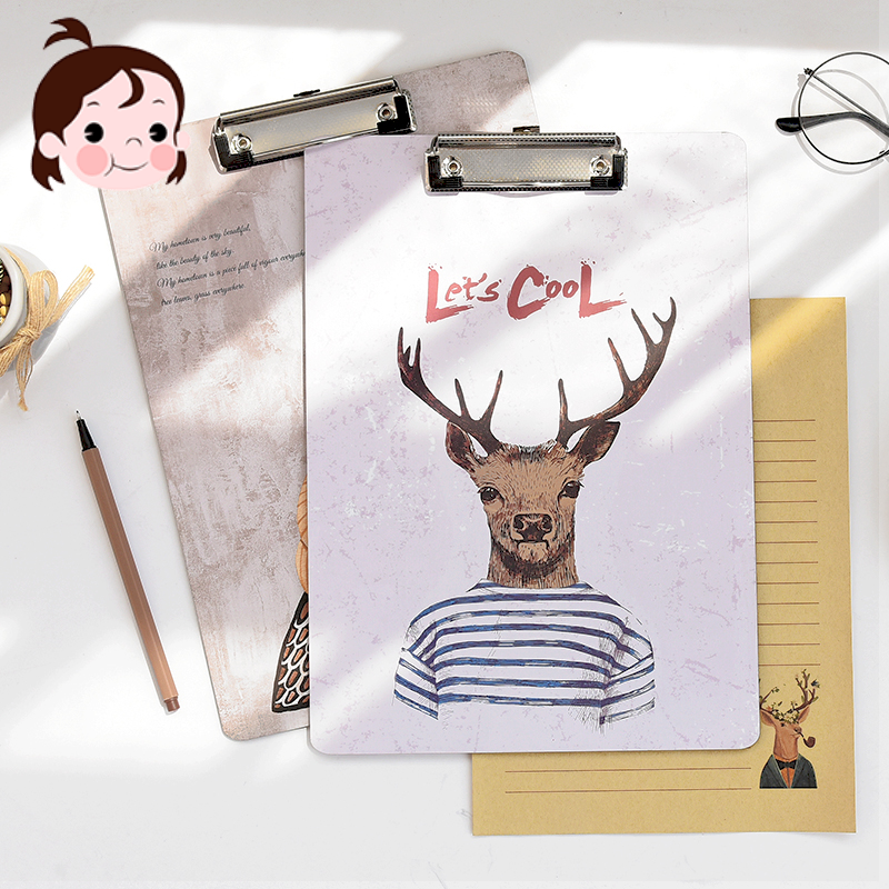 Cartoon A4 board clip student paper office folder board writing padded clipboard Mirui creative stationery random mix 1 pcs creative a4 clipboards lovely stationery store clip folder board desk file drawing writing pad school office accessory tool jb04