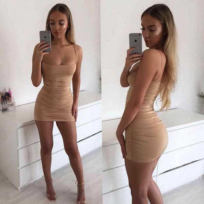 Sexy Frauen Drapierte Strappy Ärmel Low-cut Bodycon Party Abend Mini Kurze Club Kleid