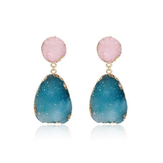 5f6e6e1c214a 1 par de pendientes colgantes de piedra de resina Bohemia para mujer  joyería regalo hecho a