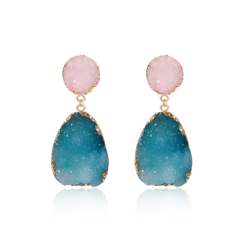 1Pair Bohemia Resin Stone Dangle Drop Earrings Women Jewelry Gift Handmade Earings Ear Drop for Female