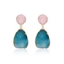 1Pair Bohemia Resin Stone Dangle Drop Earrings Women Jewelry Gift Handmade Earings Ear Drop for Female Large Long Earrings Gift