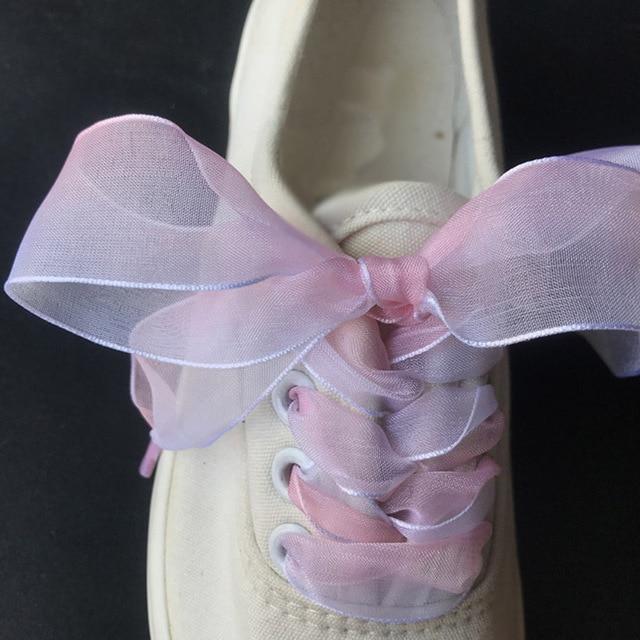 6ccac3f79eda47 1Pair 70-100CM Fashion Shoestrings Women Shoelaces Flat Silk Satin Ribbon  Shoe Laces Sneakers Sport Shoes Lace Bow