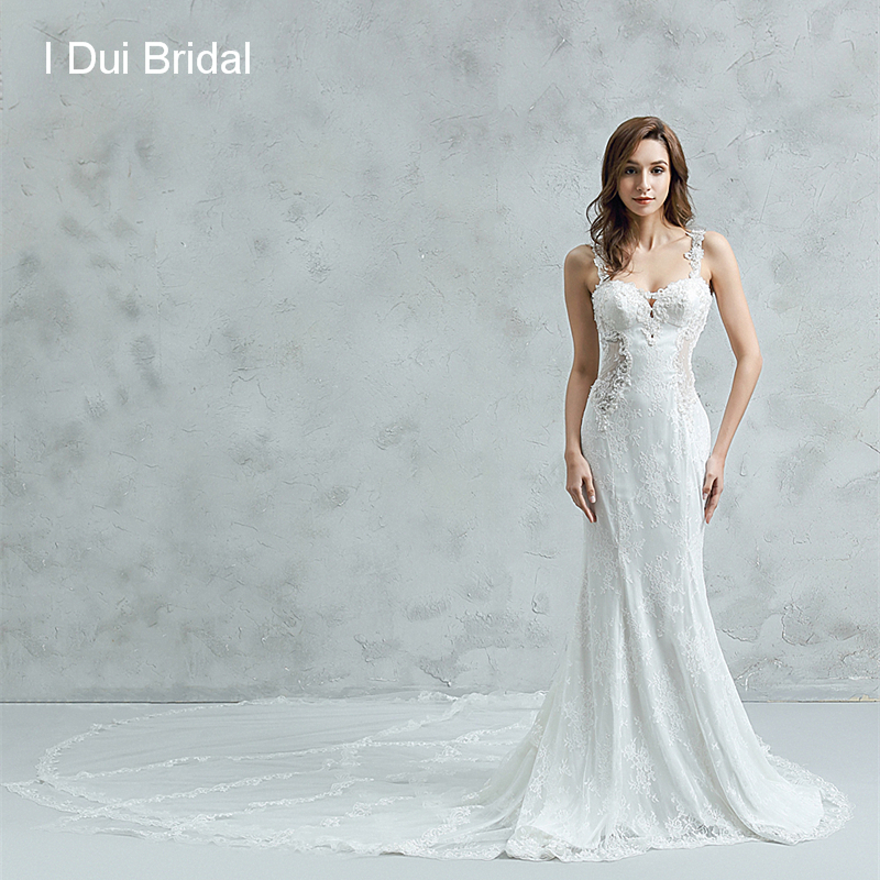 Sheer Back Sheath Wedding Dresses Unique Lace Luxury Long Train Sexy Bridal Gown