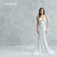 Sheer Back Sheath Wedding Dresses Unique Lace Luxury Long Train Sexy Bridal Gown