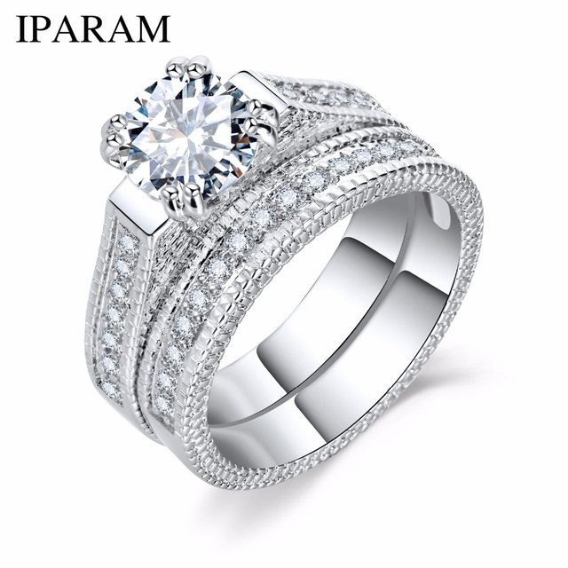 IPARAM Silver Color Luxury 2 Rounds Bijoux Fashion Wedding Ring Set