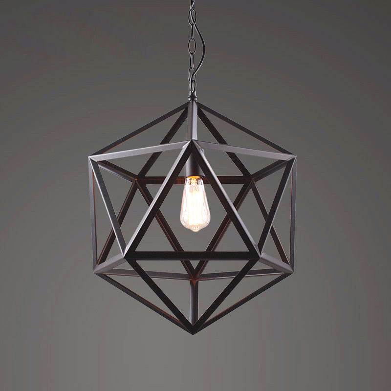 RH Creative Pendant Lights Loft Retro Industrial Rhombohedron Pendant Lamps for Bar/Restaurant Personality Home Lighting Decor
