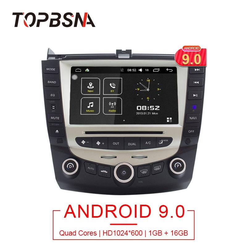 Lecteur multimédia DVD de voiture TOPBSNA Android 9.0 pour Honda Accord 2003-2008 Navigation GPS 2 autoradio stéréo headunit WiFi