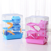 2019 New Style Hamster Cage Hamster House Three or Second Floor Rat Cage Toy Travel Carry Small Pets Supplies Accessories