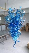 Industrial Blue Glass Crystal Chandelier Large Hanging Light for Living Room Art Deco longree restaurant lobby hall deco glass crystal chandelier light mordern style black diamond chandelier light