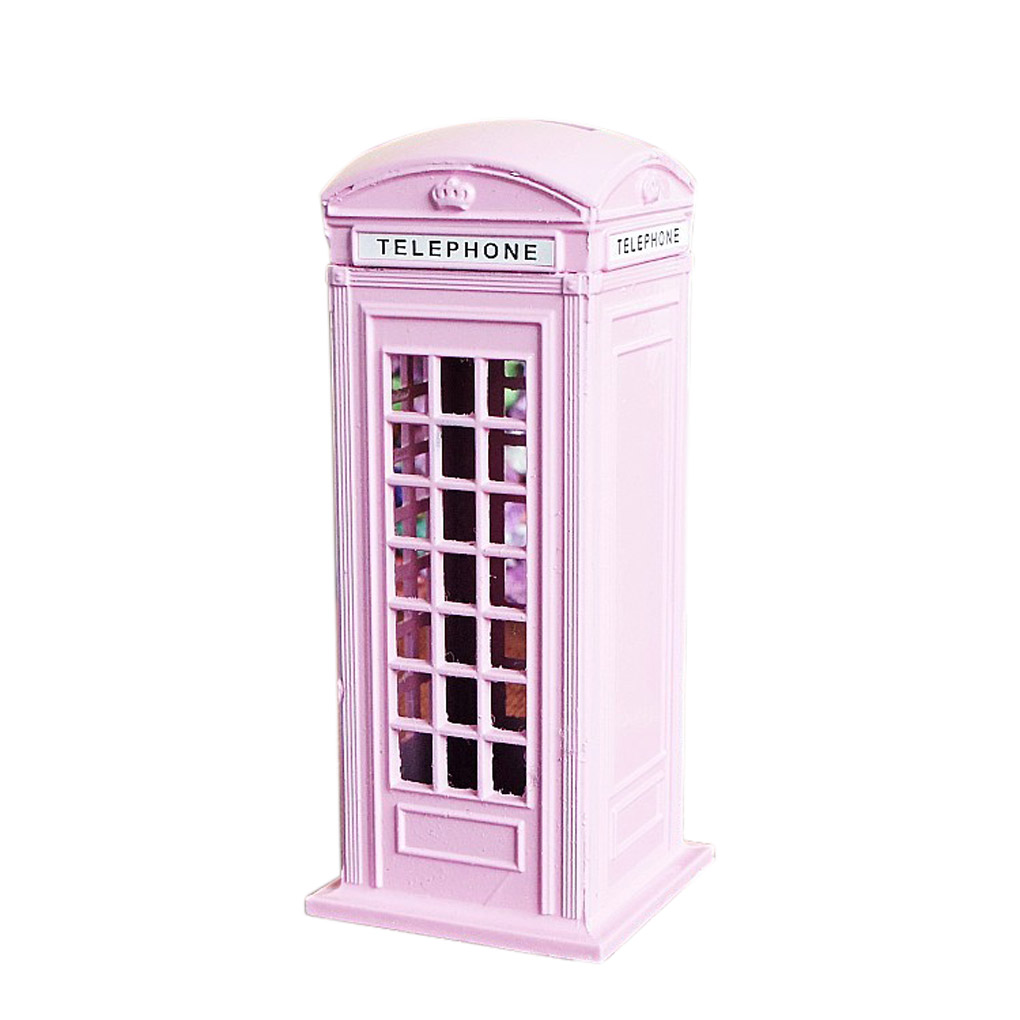 Color booth online - 1pcs British London Telephone Booth Figurine Model Bank Metal Coin Box Yellow 4 Color China