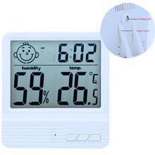 Baby Face Indoor Digital Humidity Temperature Thermometer Sensor, Hygrometer Meter Gauge with LCD Display with  Alarm clock