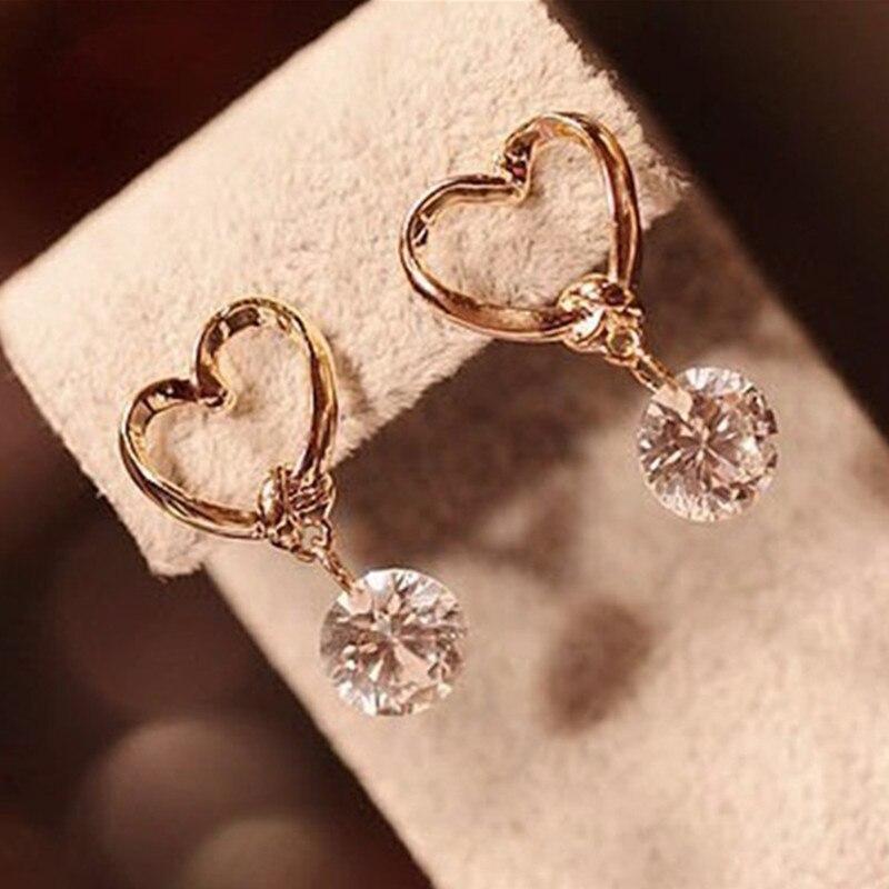 New Hot Korean Fashion Peach Heart Zircon Crystal Stud Earrings For Women Jewelry|Stud Earrings|   - AliExpress