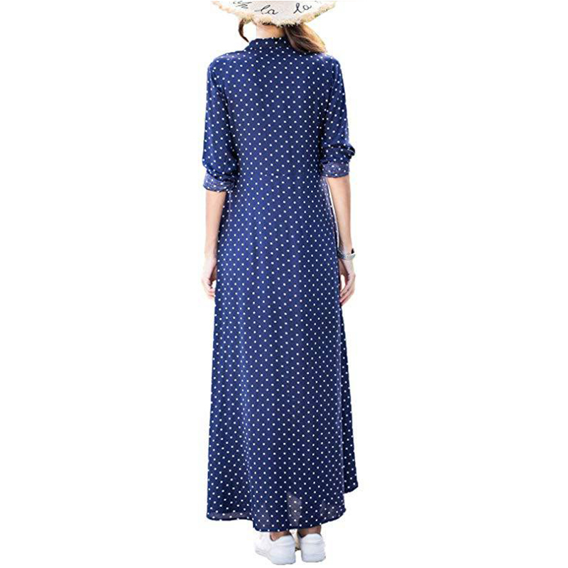 cdc90836c7e4 2018 New Women Autumn Long Sleeve Ankle Length Holiday Dress Red Black  Royal Blue Polka Dot Button Down Maxi Dress vestido-in Dresses from Women's  Clothing ...