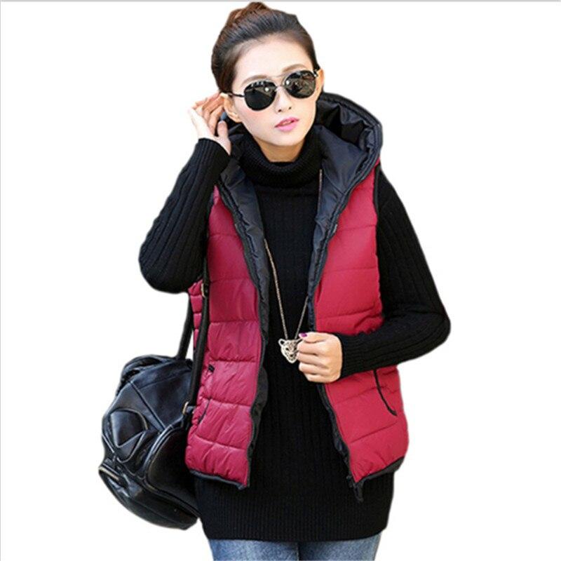 Kadınlar 8 Renkler kadın Moda Ceket 2016 Kış Ceket Kış Ceket Coat Lady İnce Kapşonlu Yelek Coat Artı Boyutu XXL