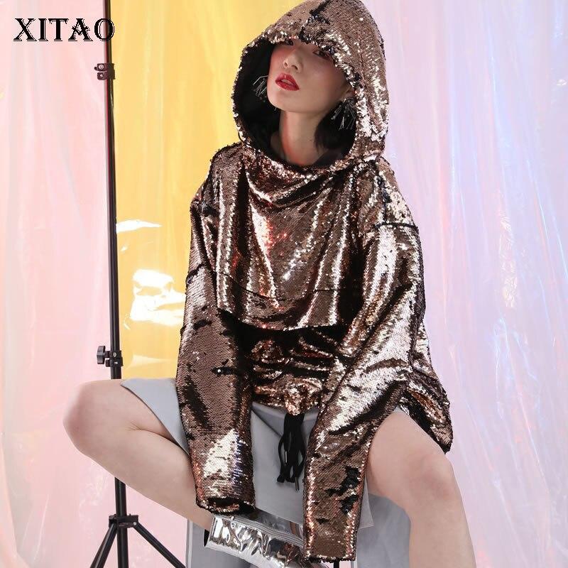 [XITAO] Europe 2018 Street New Fashion Women Hooded Collar Sequined Tops Female Full Sleeve Loose Pullover Sweatshirts GJ038