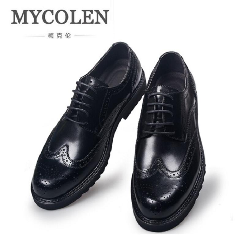 цены MYCOLEN 100% Genuine Leather Brogue Business Formal Dress Classic Men for Shoes Office Wedding Oxford Italian Erkek Ayakkabi
