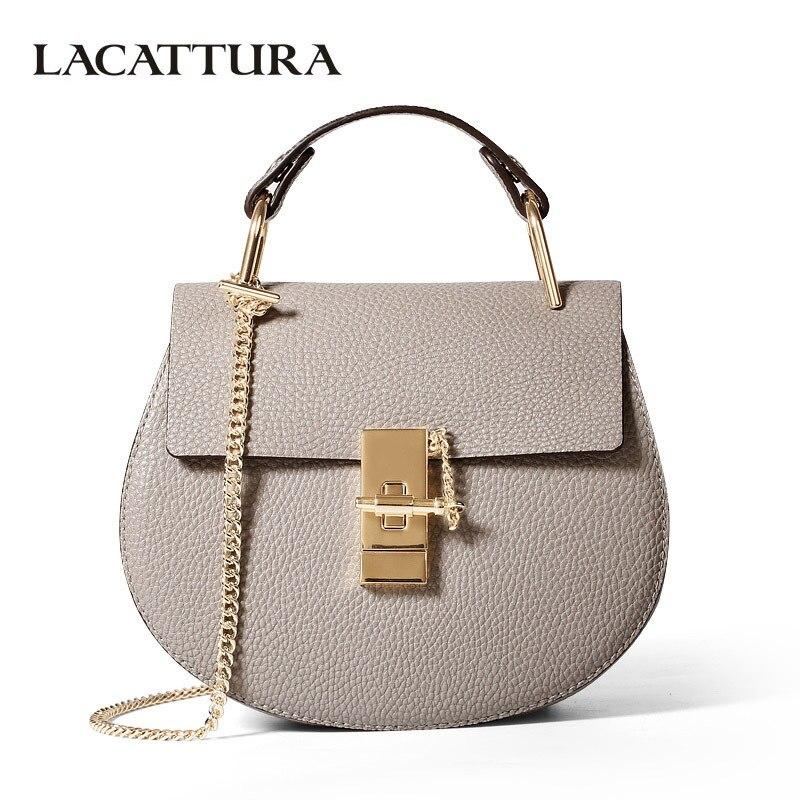 LACATTURA women messenger bags cowhide leather handbag ladies Chain shoulder bags clutch fashion crossbody bag brand