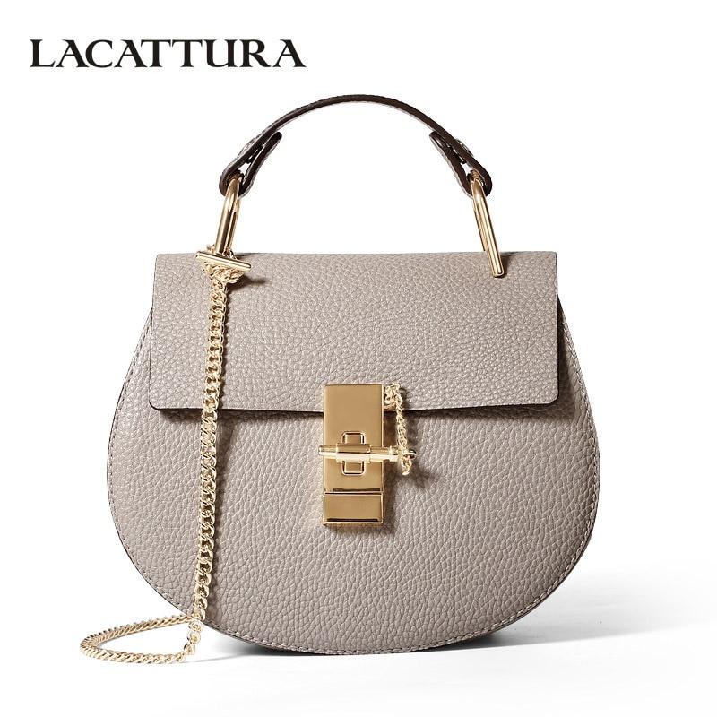 LACATTURA women messenger bags cowhide leather handbag ladies Chain shoulder bags clutch fashion crossbody bag brand candy color handbag