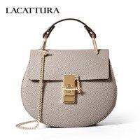 LACATTURA women messenger bags cowhide leather handbag ladies Chain shoulder bags clutch fashion crossbody bag brand candy color