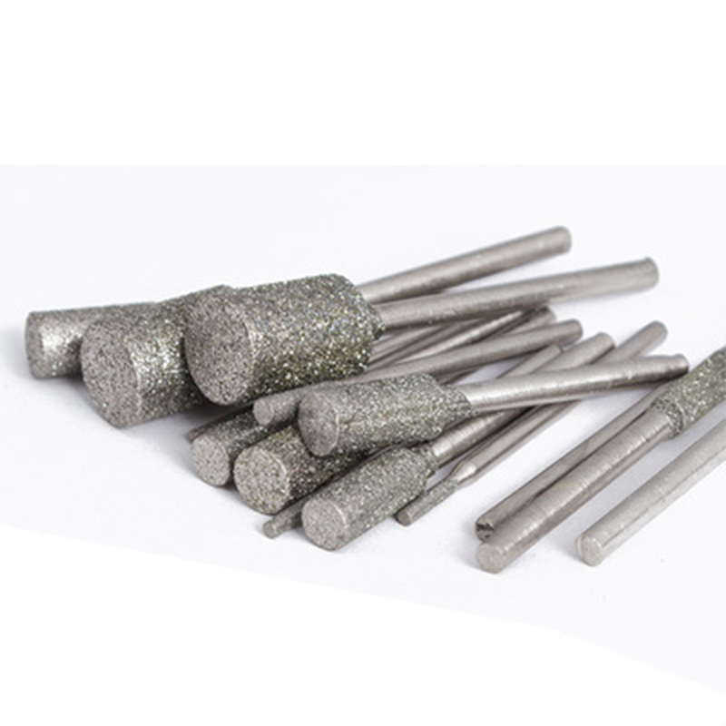 5pcs 3mm Shank Silver Diamond Grinding Drill Burr Stone Drill Bits For Rotary Tool Machinery Parts Line Cutting Engraving