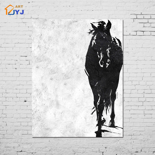 Aliexpress.com : Buy White Black Horse Pic Canvas Wall Art Hand ...
