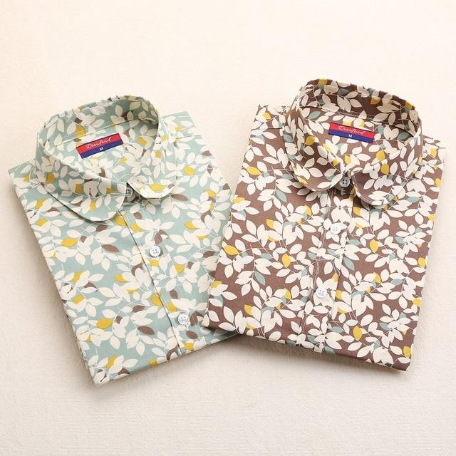 Newest Plus Size Shirt Women Animal Cotton Blouse Fashion Long Sleeve Ladies Tops Floral Print Women Blouses Casual Female Shirt