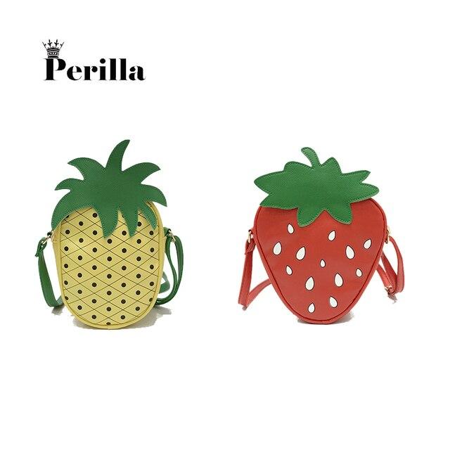 Perilla 2018 paniers à fruits Mode Fraise Ananas Femmes sacs à bandoulière Fille sacs à main portables Vintage sacs décontractés
