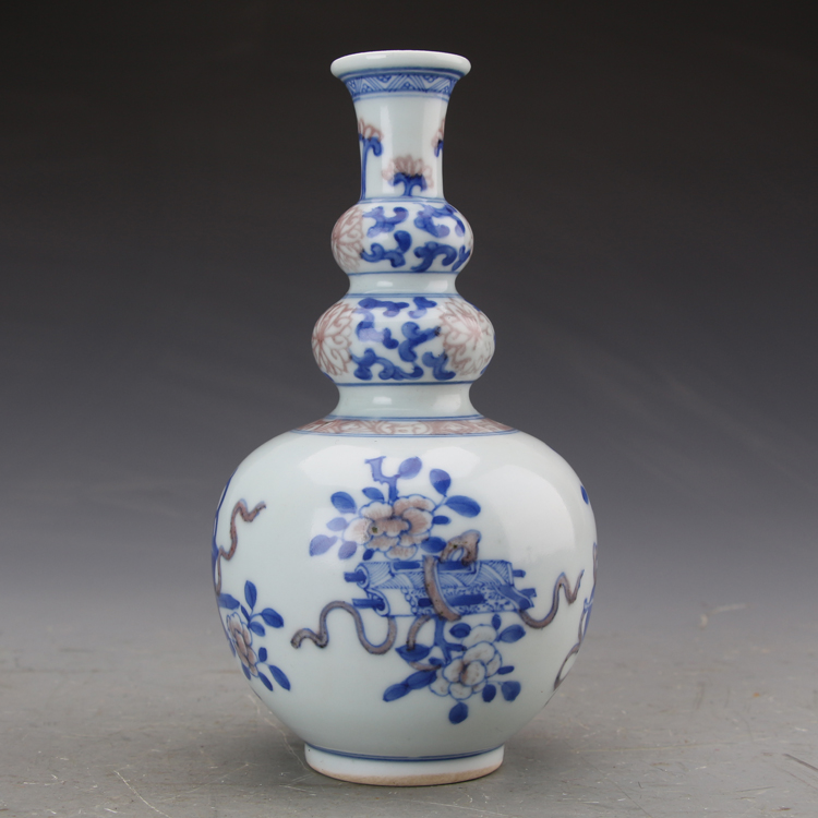 5Antique SongDynasty porcelain vase,Blue & red wishful three gourd bottle,Hand painted crafts,Collection&Adornment,Free shipping