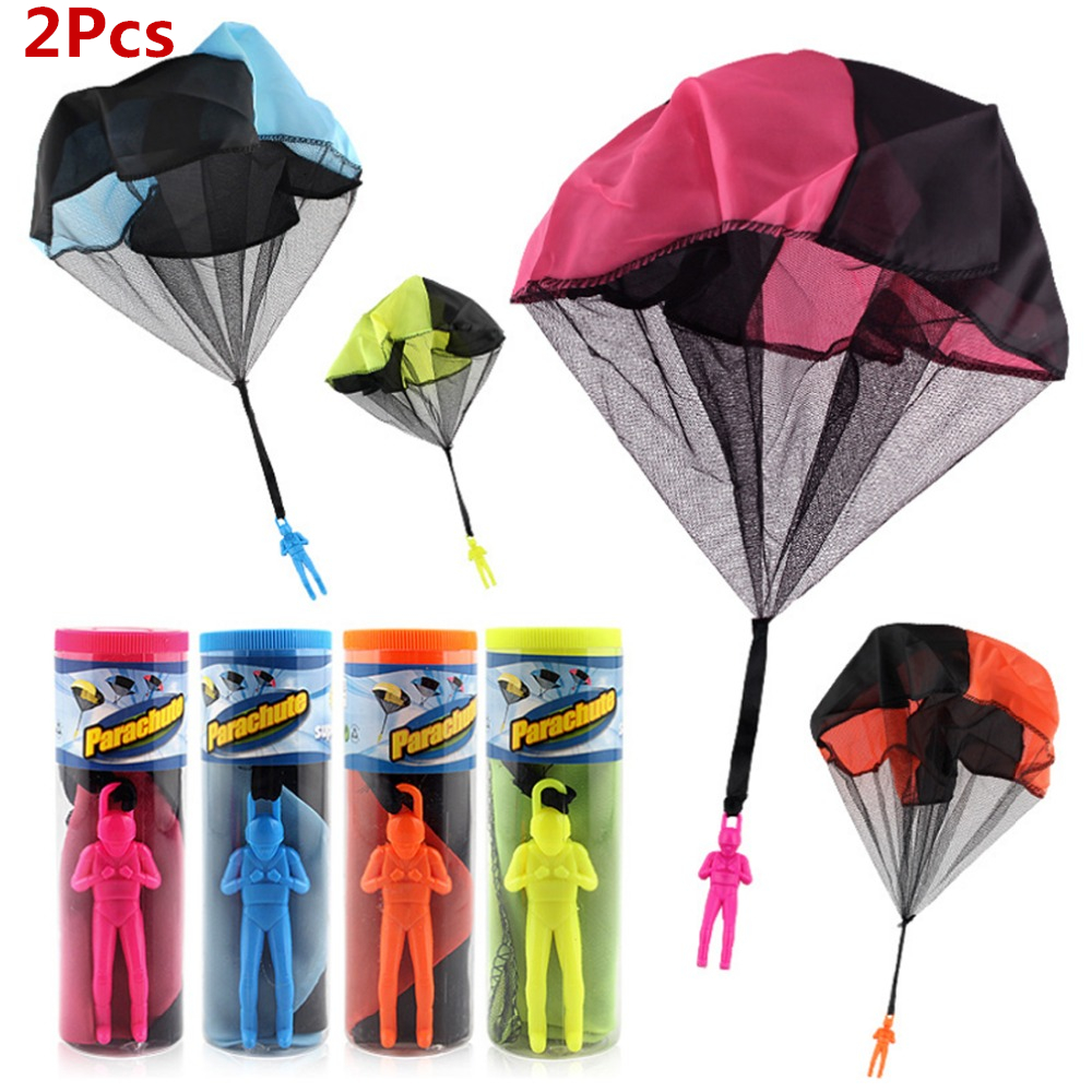 2pcs Mini Hand Throwing Parachute Outdoor Sports Fly Kids Toy Playing Soldier Parachute Fun Flying Educational Toy for Children
